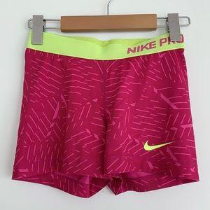 "Nike Pro Dri-Fit 3"" Shorts Spandex Pink/Volt SzS"